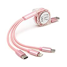 Multi USB Charging Cable, Leagway 3IN1 Retractable Fast Charger Cord With Micro USB, Lightning, Type C for iPhone 8 X 7 6 6S Plus, iPad, Nexus 5X 6P, Samsung Galaxy S8 S7 S6, Huawei P9 (Rose Gold)
