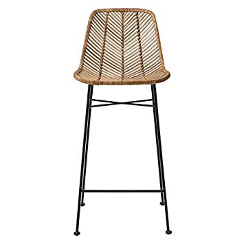 Incredible 20 5Lx40 5H Rattan Bar Stool Ntrl W Black Mtl Frame Trckshp Squirreltailoven Fun Painted Chair Ideas Images Squirreltailovenorg