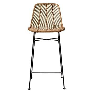 Amazing 20 5Lx40 5H Rattan Bar Stool Ntrl W Black Mtl Frame Trckshp Inzonedesignstudio Interior Chair Design Inzonedesignstudiocom