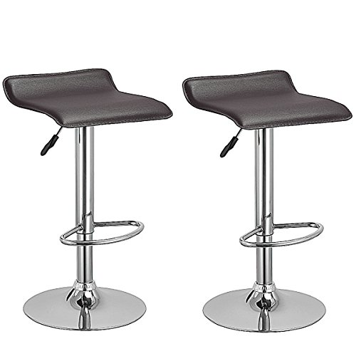 Costway Swivel Bar Stools Modern PU Leather Backless Adjustable Height Dining Chairs w/ Chrome Base Set Of 2 (Brown) (Swivel Stools No Bar)