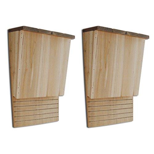 Festnight Set of 2 Bat House Shelter Solid Wood Mosquito Control 8.7