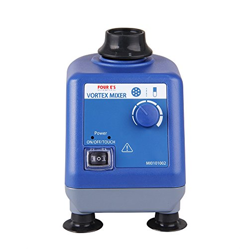 Four E's Scientific Laboratory Vortex Mixer Speed 0-3000rpm, Orbital Diameter 6mm, 50/60Hz, Touch and Continuous Modes, Mix 50ml containers Within 3 Seconds - Benchtop for Clinic Classroom Lab (Laboratory Agitator)