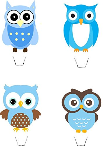 Blue Owl Collection 12 Edible Stand up wafer paper cake toppers - UNCUT (5 - 10 BUSINESS DAYS DELIVERY FROM UK)