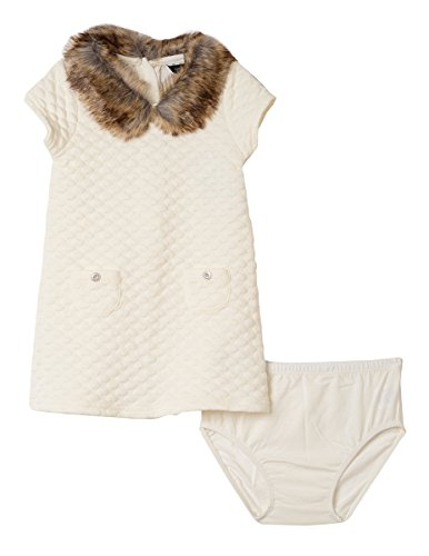 Nautica Baby Girls Quilted Dress with Faux Fur Collar, Cream, 18M
