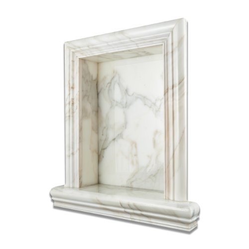 Calacatta Gold Marble Polished Hand-Made Custom Shampoo Niche - LARGE by Oracle Tile & Stone