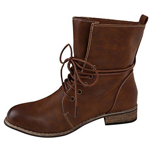 Stiefelparadies Damen Schnürstiefeletten mit Blockabsatz Basic Flandell Braun Brooklyn