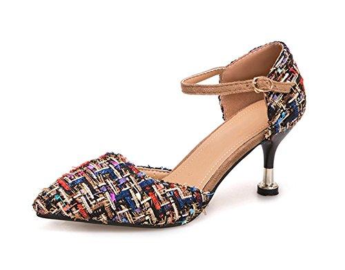 Nvxie Con High 38 Tip Summer Fashion Sandals Night Mujeres Club Plaid Heels Gray 34 Women's Zapatos Gafas r7fxRrwqp