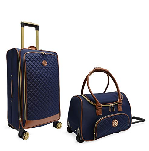 Luggage Quilted On Set Carry - Adrienne Vittadini Quilted Lightweight Upright & Expandable Carry-On and 4 piece Luggage Sets (NAVY)
