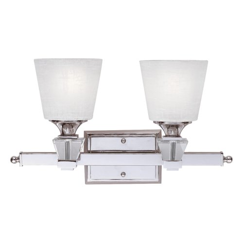 low-cost Quoizel DX8602C Deluxe 10-Inch Bath Bar with Two Lights with Cream Linen Glass, Polished Chrome Finish