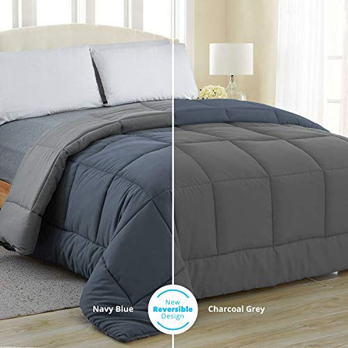 Equinox All-Season Navy Blue/Charcoal Grey Quilted Comforter - Goose Down Alternative - Reversible Duvet Insert Set - Machine Washable - Plush Microfiber Fill (350 GSM) (Queen 88 x 88 Inches)