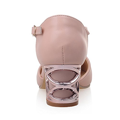 Buckle TAOFFEN Pink Dating Women Heel Comfort Sandals Block PPwa7qY