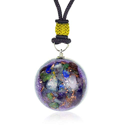 - New Orgone Pendant for Ultimate Luck and Money | Green Jade | Amethyst | Rose Quartz | Blue Kynite | Red Garnet | Lapis Lazuli Orgonite Necklace for Meditation - Problem-Solver - Gemstone Pendant