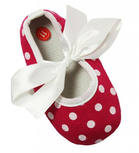 Hot Pink and White Polka Dot Baby Crib Shoes 6-12 months