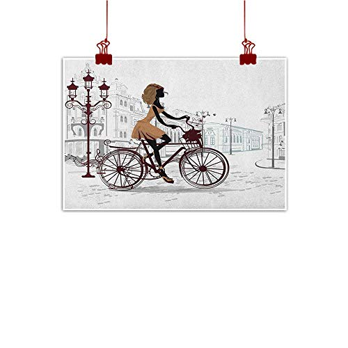Anyangeight Art Poster Print Teen Room,Young Girl in Paris Streets with Bicycle French Style Display, Chestnut and Pale Brown Pearl 36