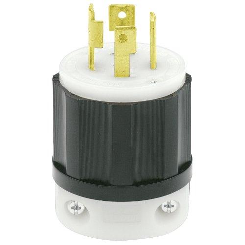 Leviton 2721 30 Amp, 250 Volt 3-phase, NEMA L15-30P, 3P, 4W, Locking Plug, Industrial Grade, Grounding - - Black 250v Amp Nylon 30