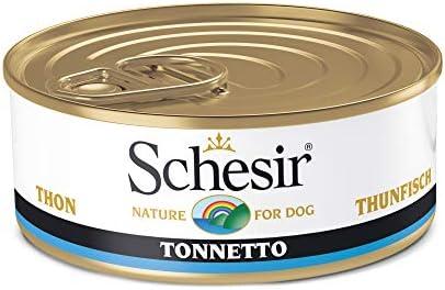 Schesir, Comida húmeda para Perros Adultos, Sabor bacoreta en gelatina Blanda - Total 2,7 kg (18 latas x 150 gr)