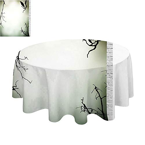 SATVSHOP Round Polyester Tablecloth-50Inch-Indoor Outdoor Camping Picnic Circle Table Cloth.Horror House Crow Bird on Leafl s Branch Cemetery Death Spirit Animal Evil Funeral Sepia Black. -