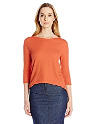 Three Dots Red Women's 3/4 Sleeve Easy Fit Boatneck Top, Autumn Glaze, Large