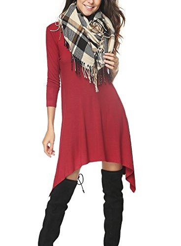 iGENJUN Women's Scoop Neck 3/4 Sleeve Tunic Tops Loose Basic Shirt Dress,XXL,Wine Red