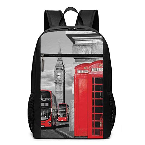 School Laptop travel sports Backpack bag,London Telephone Booth In The Street Traditional Local Cultural Icon England UK Retro Theme,Casual Daypack for Business/College,17