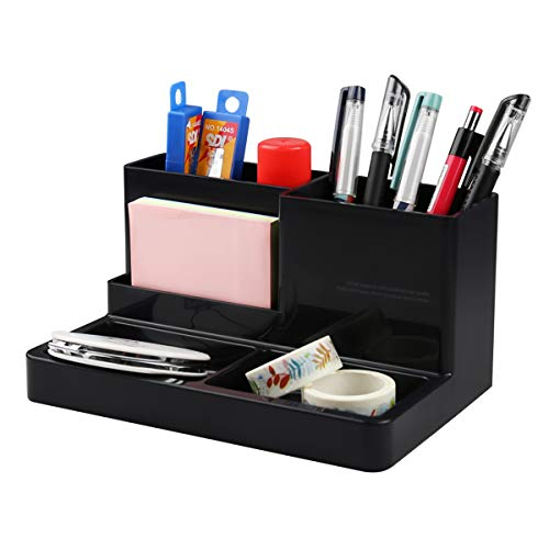 Desk Organizer Caddy with 5 Compartments Office Workspace Desktop Holder Stable Plastic Stationery Storage Box for Pencils,Markers,Erasers,Pens,Thumbtack (7.1