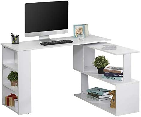 HOMCOM 360 Rotating Home Office Corner Desk and Storage Shelf Combo Modern L Shaped Rotating Computer Desk