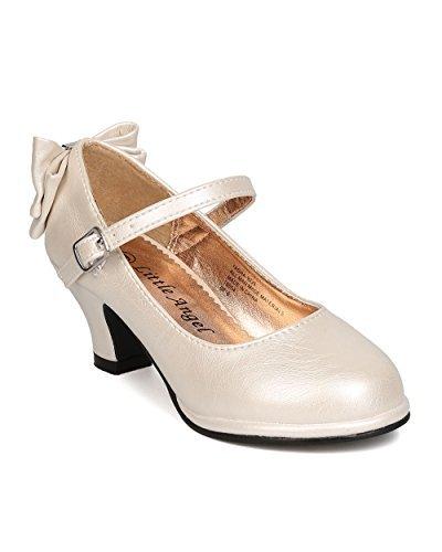 Girls Leatherette Back Bow Tie Mary Jane Kiddie Heel GB49 - Ivory (Size: Little Kid -