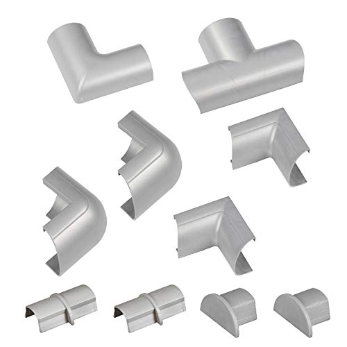 D-Line Cable Raceway Clip-Over Accessories | Join Multiple Channels of D-Line Cord Covers | Coupler and Connector Multipack (Medium (Mini), Grey)