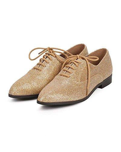 Breckelles De12 Dames Glitter Shimmer Pointy Teen Toeschouwer Oxford Flat - Champagne