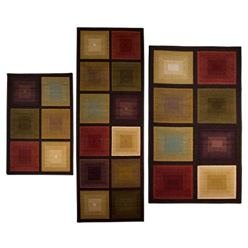 Optic Squares 3 piece Rug Set, Features A Unique, Eye Catching Design . (Rug 3 Piece Sets)