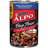 Purina ALPO Brand Dog Food Chop House T-Bone Steak Flavor in Gourmet Gravy Wet Dog Food, 22 Ounce Can, Pack of 12