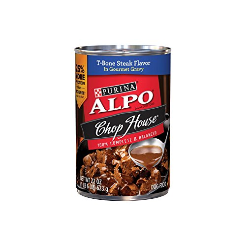 Purina ALPO Brand Dog Food Chop House T-Bone Steak Flavor in Gourmet Gravy Wet Dog Food, 22 Ounce Can, Pack of 12 (Alpo Can Dog Food compare prices)