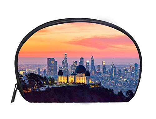 Half-moon Cosmetic Bag Los Angeles Skyline at Dawn Panorama and Griffith Park Observatory in the Foreground Travel Cosmetic Case Luxury Makeup Artist Bag