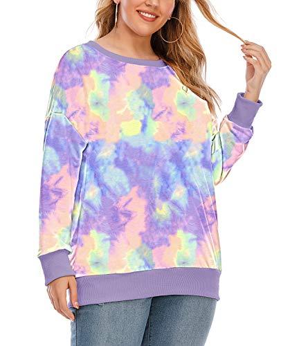 YASAKO Womens Plus Size Casual Tie Dye Camo Print Long Sleeve Shirts Crew Neck Loose Fit Sweatshirt Pullover Tops (Tie Dye-B, 4X-Large)