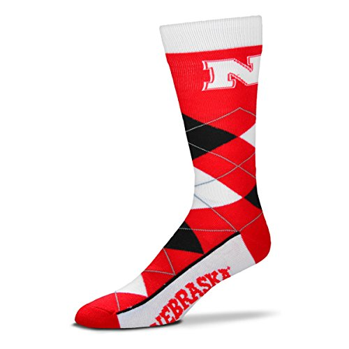 NCAA Nebraska Cornhuskers Argyle Unisex Crew Cut Socks - One Size Fits Most