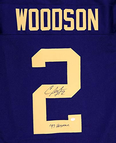 (Charles Woodson Michigan Signed Autographed Blue #2 Custom Jersey PAAS COA)