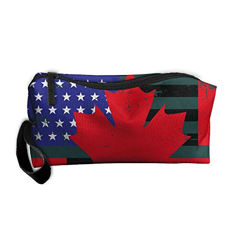 LogicPor USA Canada Flag Distressed Portable Zipper Makeup Bag Travel Cosmetic Pouch Toiletries Bag Storage Bag Organize Stationery Pencil Holder Coin Purse Medicine Kit - Usps Times Canada To Delivery