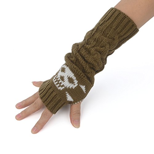 Unisex Cable Knit Fingerless Arm Warmers Skull Jacquard Thumb Hole Gloves
