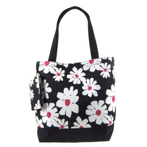 Zebra Print Bucket Bag (Cute Canvas Bucket Tote Bag Shoulder Purse (Flower Print - Black))