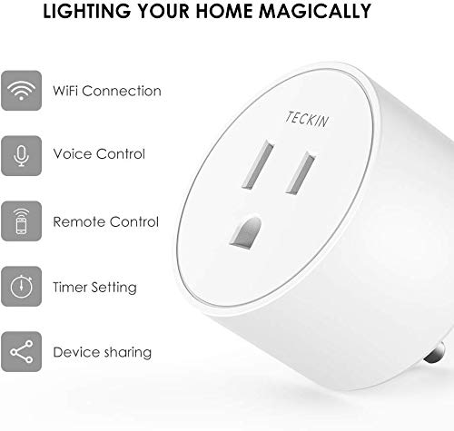 Smart Plug Works with Alexa, Google Assistant, TECKIN Mini WiFi Outlet with Timer Function, No Hub Required, Remote Control &Voice Control, White,FCC ETL Certified