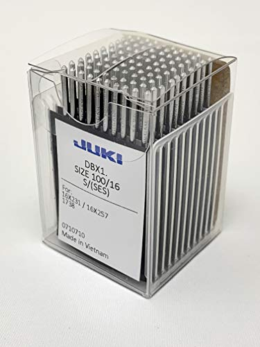 Juki Brand – Industrial Sewing Machine Ball Point Needles (Size 16) – for Straight Stitch/Single Needle Industrial Sewing Machines – (Box of 100 Needles) Juki Genuine Part – for Professional Use.