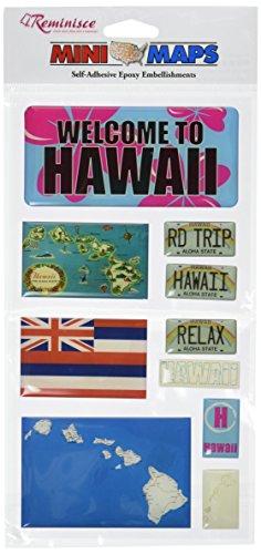 Reminisce Mini Maps Self-Adhesive Epoxy Embellishments 10 Per Package, Hawaii