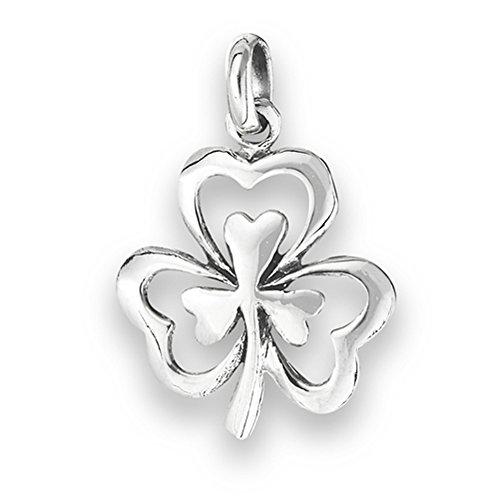 Irish Polish (Clover Shamrock Pendant .925 Sterling Silver Double High Polish Irish)