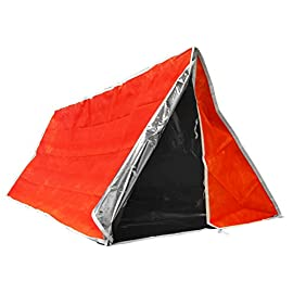 SE Emergency Outdoor Tube Tent with Steel Tent Pegs 35 Non-woven material with aluminum coated interior insulates body heat for extra warmth Dimensions: 82-inch x 36-inch Color: high visibility orange