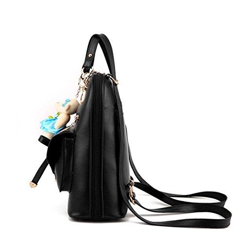 Wewod Mujeres Mochilas de PU Cuero Mochila Colegio Women Backpack Mochilas para Niña Chica Niño Trabajo Travel Shopping 25 x 30 x 13 cm (Largo * Alto * Grueso) Negro