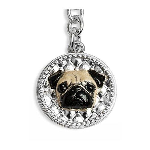 Llavero plata 925% esmaltado a mano - perro carlino - Pug ...