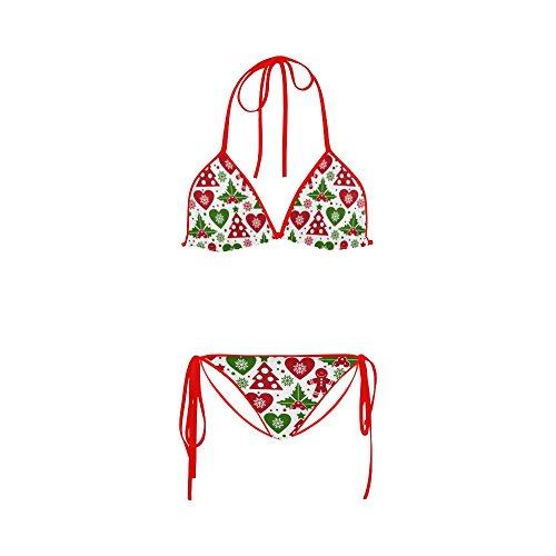 - Women's Christmas Tree and Mistletoe Two Pieces Bikini Sets Swimwear Swimsuit