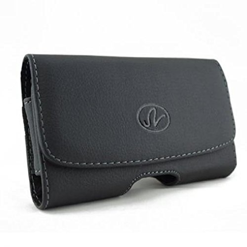 Black Horizontal Leather Case Cover Protective Pouch Belt Clip Loops Compatible with US Cellular Samsung Gem SCH-i100 - Verizon BlackBerry Curve 3G 9330 - Verizon BlackBerry Curve ()