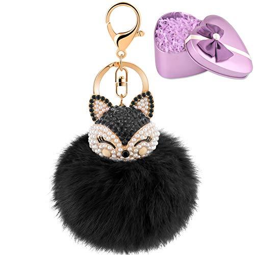 (JOUDOO Fluffy Fur Ball Keychain With Gift Box Fox Head Pom Pom Keyring with rhinestone for bag or Car Pendadnt Charm Accessories GJ020 (black 2))