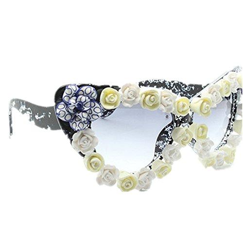 sol mujeres a de la de playa de hechas UV sol de Elegante gafas de Retro la agraciadas gato Gafas para de hechas a mano Estilo las P vacaciones de verano de Unisex mano flor protección ojos conducción X8RxPwZ